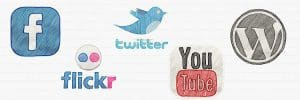 wordpress and social media logos