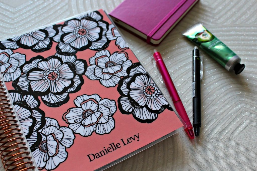 Danielle's pens and notebooks for her lifestyle blog organisation