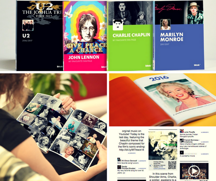 The book of your Facebook Fan Pages - John Lennon, U2, Charlie Chaplin, Marilyn Monroe