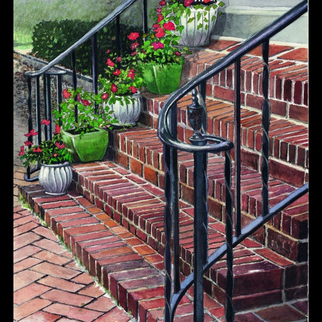 A painting of flowers on steps