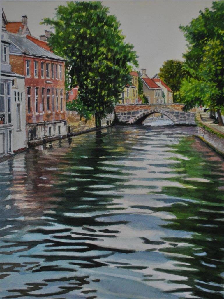 A painting of a water going through a village