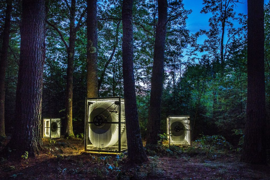 new-hampshire-woods-nighttime-three-giant-flipbooks-transparent-glowing-LEDs