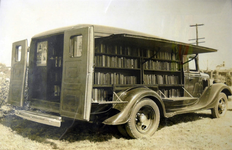 Picture of a bookmobile in the 20's