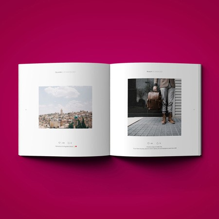 The inside layout of an Instagram book