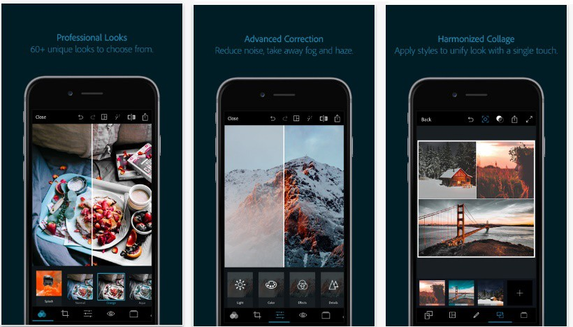 Mockups of pictures being edited on a phone