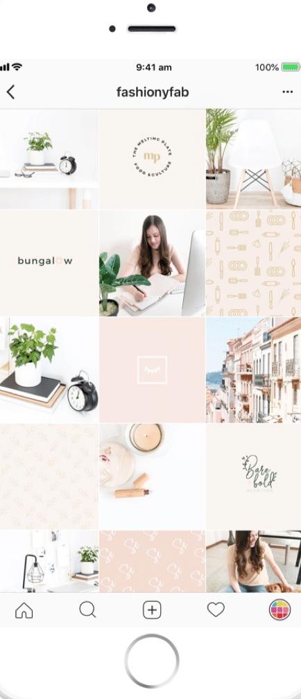 an instagram tile grid