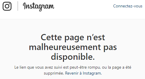 The instagram bug message that was displayed on a wordlwide scale