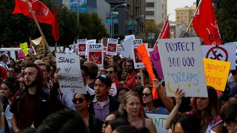 DACA recipients walking on a strike