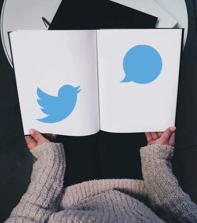 woman with a Twitter book