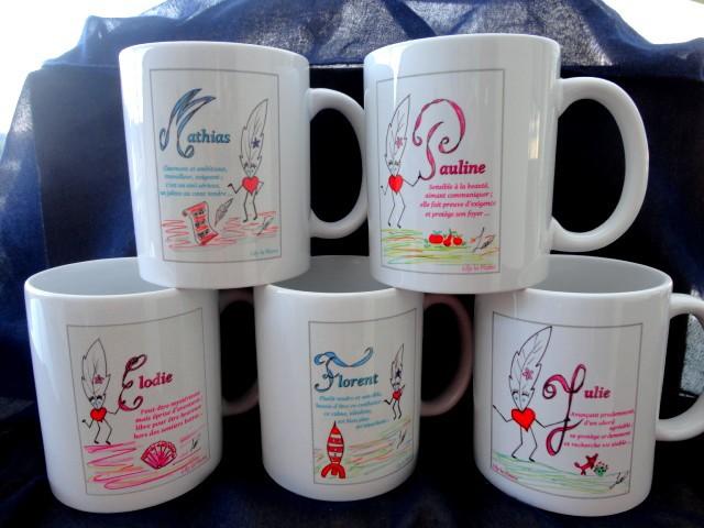 Mugs Prénoms Lily la Plume avec dessins