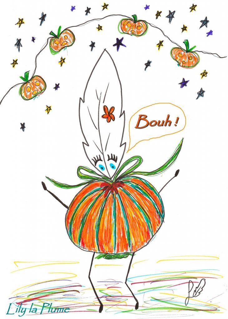 Dessin de Lily la Plume en Citrouille pour Halloween