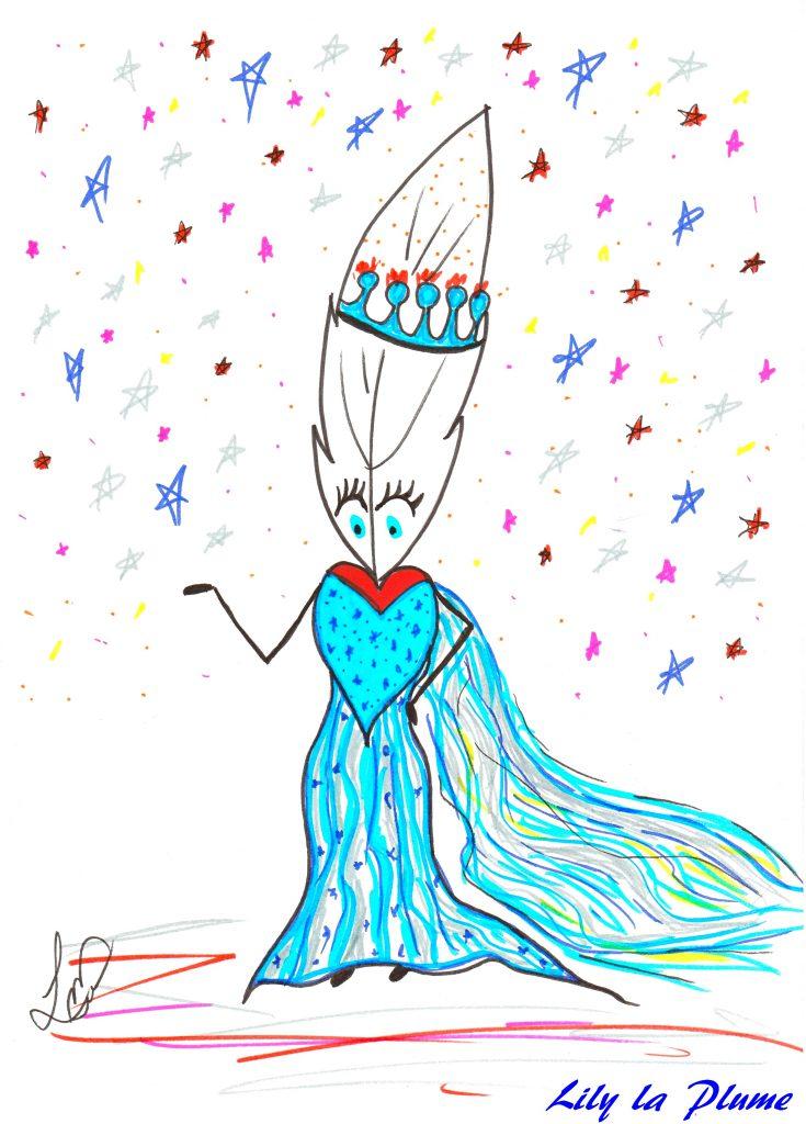 interview : dessin de Lily la Plume la Reine des Neiges
