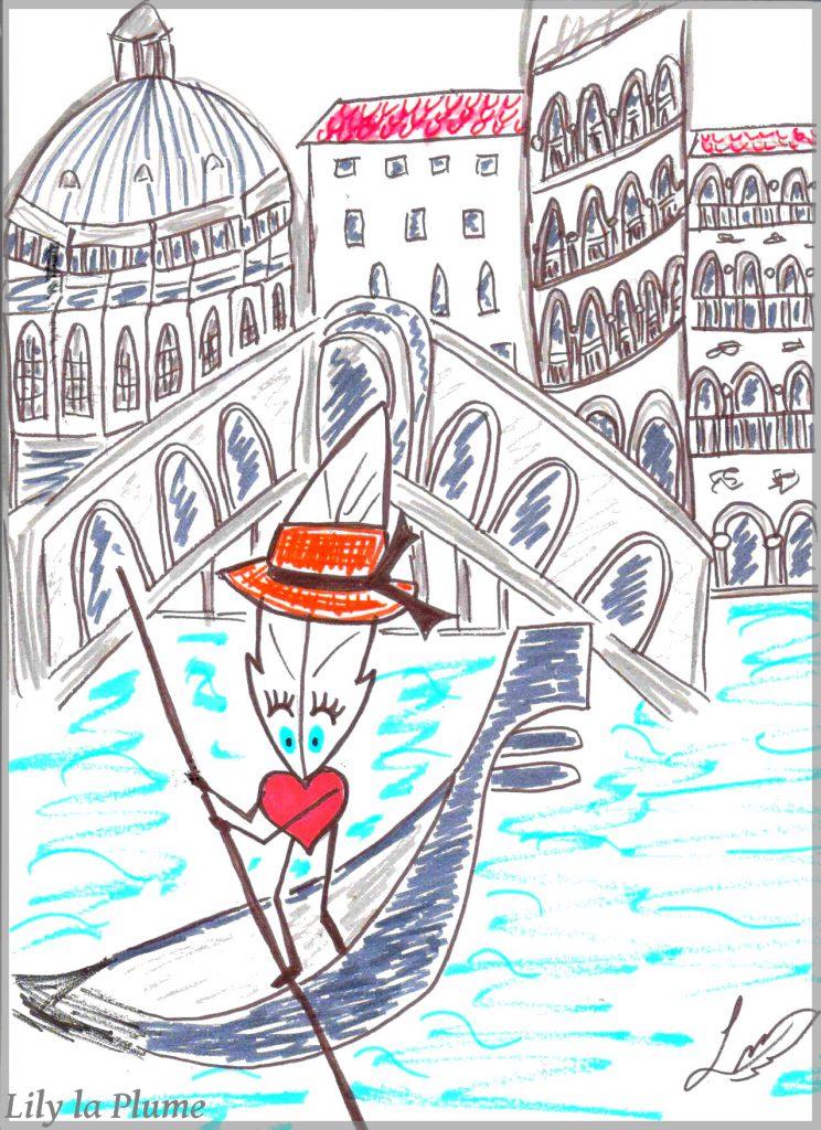 Dessin Lily la Plume à Venise