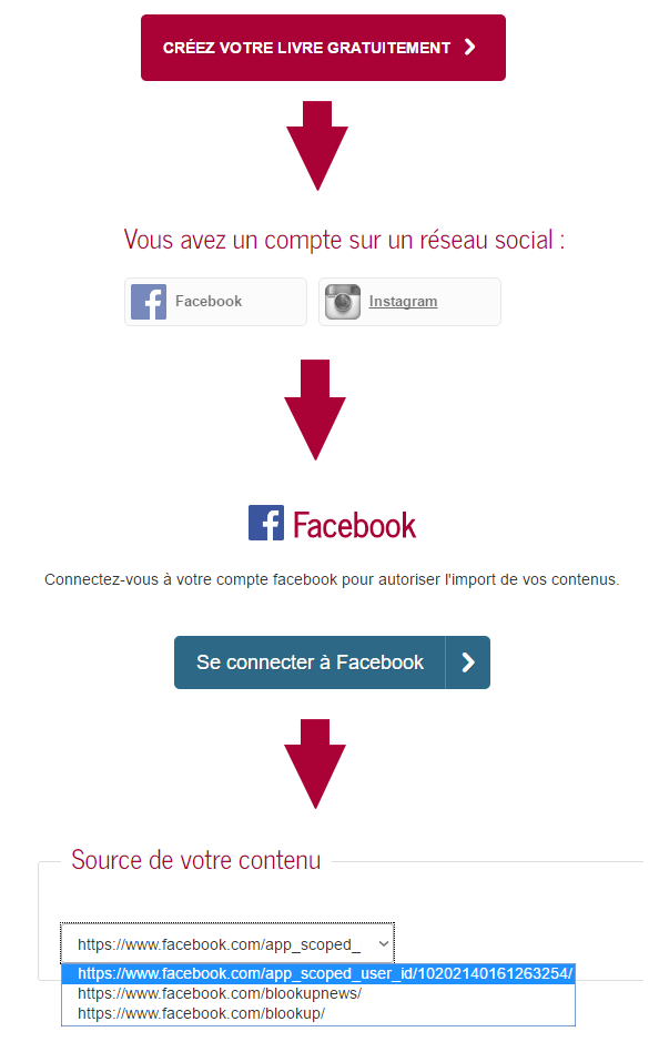 Importer pages Facebook sur BlookUp