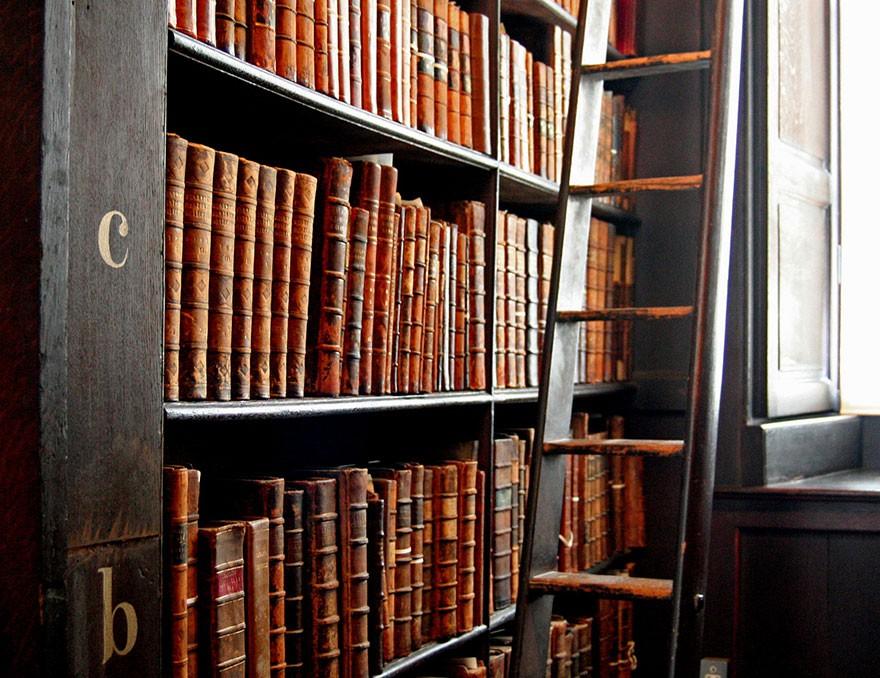 Livers et échélle dans la Old livrary de Dublin