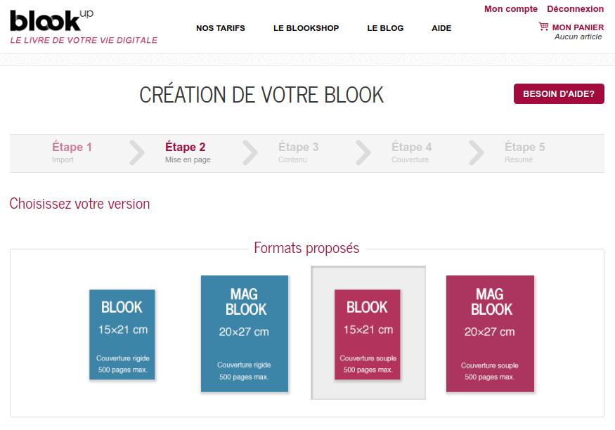 choix de couvertures souples et rigides sur le site de Blookup