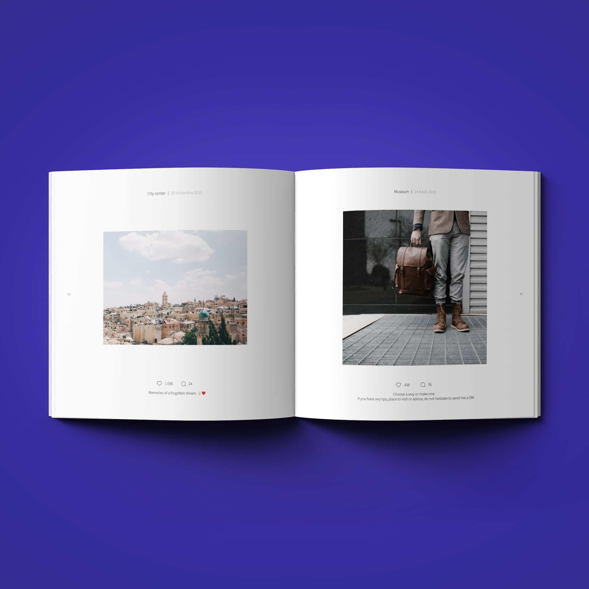 Un livre instagram de couleur bleu