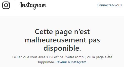 Message d'eereur diffusé sur Instagram lors du bug à échèlle internnaional