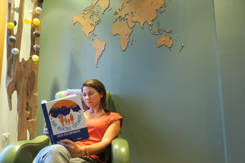 Une blogueuse voyage consultant son livre facebook