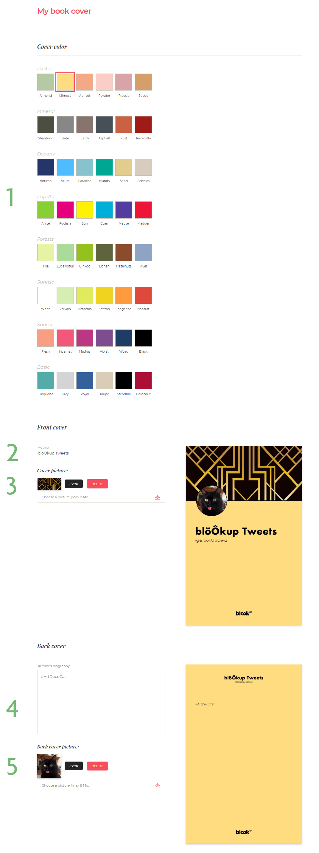 customizing the covers on a Twitter book